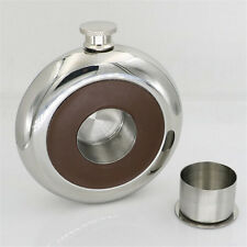 Round Stainless Steel Hip Flask Alcohol Whiskey Liquor Built-in Glass Drinkware