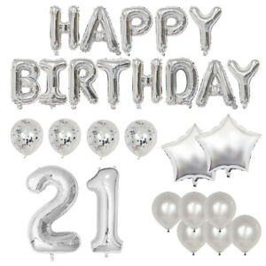 Silver Birthday Balloon Decoration Kit - Various Age Packs and Sizes Available