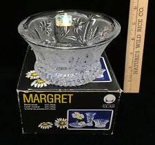 Crystal Bowl Lausitzer Glas Glass Margret Daisy Floral Flower Pattern Frosted