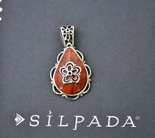 ❤Silpada REVERSIBLE Red Coral Fiery Personality STERLING PENDANT S2272 Filigree