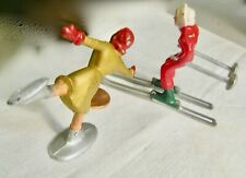 Two Antique Miniature Doll Playing On The Ice From Germany