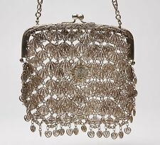 ANTIQUE CHINESE HEAVY SILVER FILIGREE CHAIN PURSE c.1900