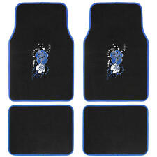 Custom Design Floor Mats, 4 PC Car Accessories for girls, Blue Hawaiian Flower