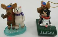 Christmas Alaska Ornament Moose Bear and Husky Sled
