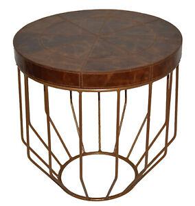 Handmade Designer Tan Leather Damru cum Side Table
