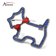 Women Blue Crystal Rhinestone Bow-knot Yorkshire Terrier Dog Brooch Pins Jewelry