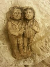 Antique Twins Doll Siamese? Figure Frozen Miniature Strange Time Worn