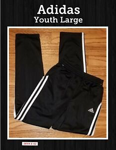 Adidas Youth Large (14-16) Black And White Athletic Pants/ Joggers With Pockets