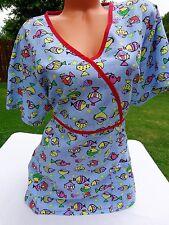 LIANA Size 3X Scrub Top Short Sleeve Blue Fish Aquarium Nursing Vet Shirt