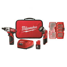 Milwaukee M12 12V Li-Ion 2-Tool Combo Kit with Bit Set 2482-22 New