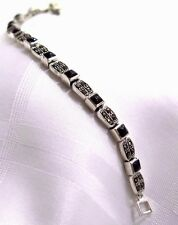925 STERLING  SILVER MARCASITE AND ONYX BRACELET