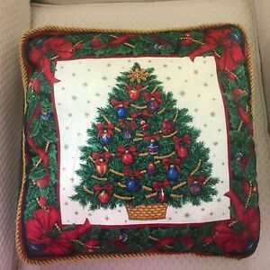 A Beautiful Xmas Pillow Featuring A Christmas Tree w/Red/Blue & Gold Ornaments.