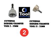 2 x External Deburr Chamfer Tool 3mm - 35mm Tungsten Blades Repair Damaged Bolt