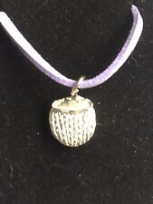 """Coconut Drink TG215 Fine English Pewter On 18"""" Purple Cord Necklace"""