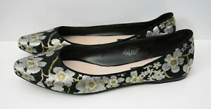 Nine West Women's Shoes Pointed Ballet Flats Size 8M Silver Gold Floral