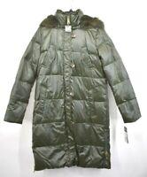 Lauren Ralph Lauren Womens Snap Zip Stan-Up Collar Faux Fur Puffer Hooded Jacket