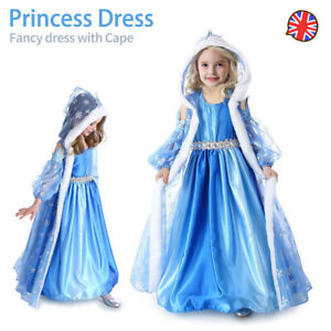 Girls Frozen Queen Elsa Fancy Dress Princess Party Cosplay Costume Cape Outfit
