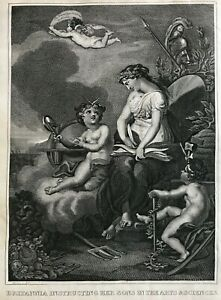 1818 Antique Print: Britannia Instructing Her Sons in the Arts and Sciences