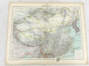 1898 French Map of China The Chinese Empire Original 19th Century Antique