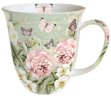 "Porzellan-Tasse""Botanical Green""Rosen*Butterfly* 0,4l Kaffee-Becher*Bone China"