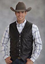 Roper Western Vest Mens Size M Faux Leather Black 02-075-0600-0108 BL $74.99