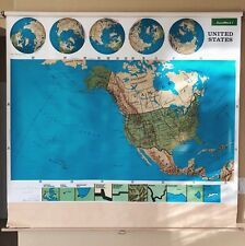 Pull Down School Maps 1 Layer U.S Vintage, Salvage, Old, Antique.
