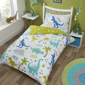 Roarsome Dinosaurs Duvet Cover Kids Boys Single Bed Quilt Bedding Set Green Blue