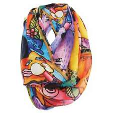 Laurel Burch 100% Poly Rayon Infinity Neck Scarf Brights Canine Dogs New