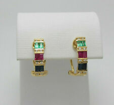 2 Ct Emerald Ruby Sapphire Diamond Wedding Hoops Earrings 14K Yellow Gold Finish