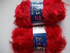 Stylecraft Eskimo eyelash yarn, Crimson (red), lot of 2 (98 yds each)
