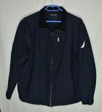 Nautica Men's Softshell Jacket Size L Coat Dark Blue Full Zip Wind Repellent