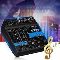 Portable 4 Channels Usb Mini Sound Mixing Console Audio Mixer Amplifier Blu Q4T6