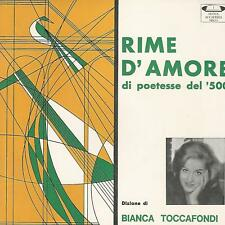 """BIANCA TOCCAFONDI  RIME D'AMORE DI POETESSE DEL '500   7"""" EP  PERFECT"""