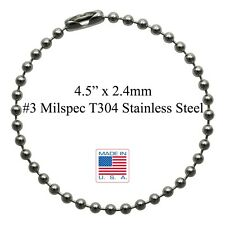 """4.5"""" MilSpec #3 T304 Stainless Steel Ball Chain For Dog Tags Made in the USA"""