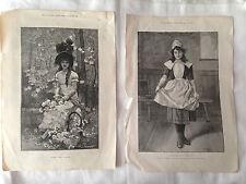 Dos antiguas impresiones grabados de chicas jóvenes desde 'Ilustrado London News' 1891