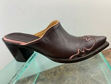 Old Gringo Brown Pink Leather Slip On Snip Toe Casual Mules Clogs Womens 7