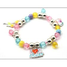Childrens MultI-Color Beaded Stretch Bracelet With I Love 2 Cheer Cheerle Charms