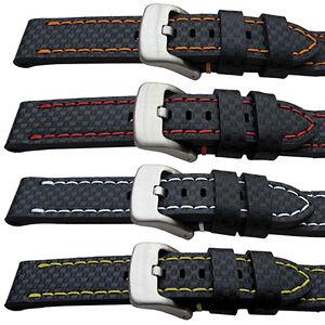 Carbon Fibre Grain Sport Watch Strap :Premium Quality Leather 20mm 22mm 24mm