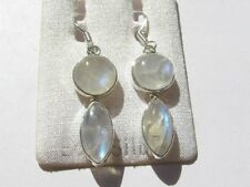Mondstein blau Ohrhänger-Rainbow Moonstone Earrings 925 Silber E7037