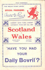 WALES v SCOTLAND 2nd FEBRUARY 1935 RUGBY PROG. CARDIFF ARMS PARK