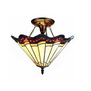"""Tiffany Style 2 Light Semi-Flush Ceiling Fixture Amber Red Stained Glass 16"""""""