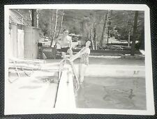 COCA-COLA Vintage Snapshot Young Man & Young woman Pool Bathing Suit
