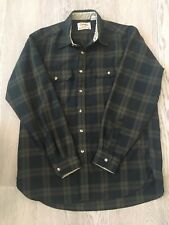 VINTAGE Cabela's Plaid Black Green BUTTON FRONT Cordoroy  MENS L #389