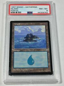 Graded Island C PSA 8 NM-MT Portal 1997 MTG Magic Card Vintage Pop 2 (1 Higher)!