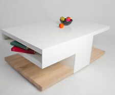 """MCA """"Aaron"""" High-Gloss White & Oak Designer Coffee Table With Storage"""