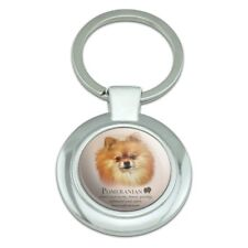 Pomeranian Dog Breed Classy Round Chrome Plated Metal Keychain