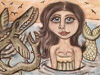 Mermaid Sea Dragon Art Print 11x14 Signed by KSams Vintage Style Mosasaurus
