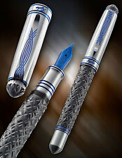Grayson Tighe Zirconium Reticulated Crystal Fountain Pen W/Blued Titanium Nib!