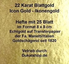 22 Karat 4 Hefte Ikonen Gold IconGold 16 Gr Transfer 8x8cm Blattgold Vergolden