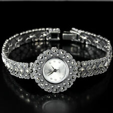 Sterling Silver 925 Lovely Antique Design Genuine Marcasite Watch 7.25 Inches